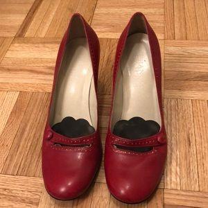 6.5M Franco Sarto red Mary Jane pumps